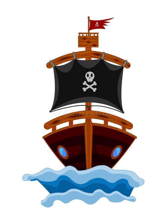 Het Beeldverhaal van het piraatschip vector illustratie
