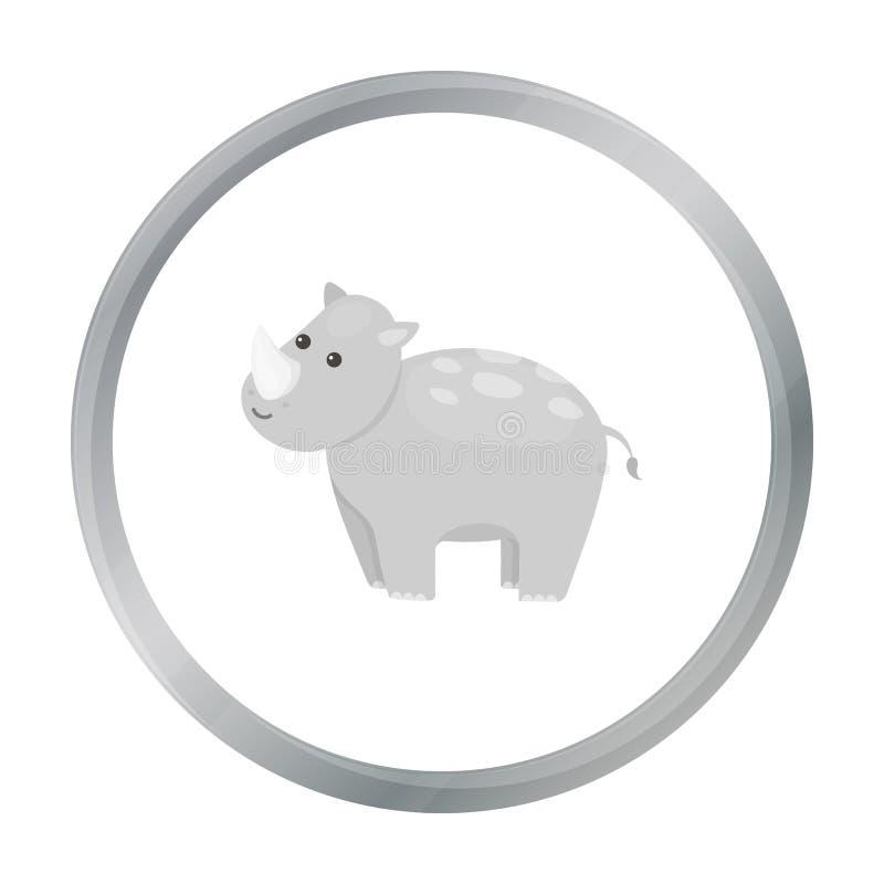 Het beeldverhaal van het rinocerospictogram Schroeiplek dierlijk pictogram van het grote dierenbeeldverhaal vector illustratie