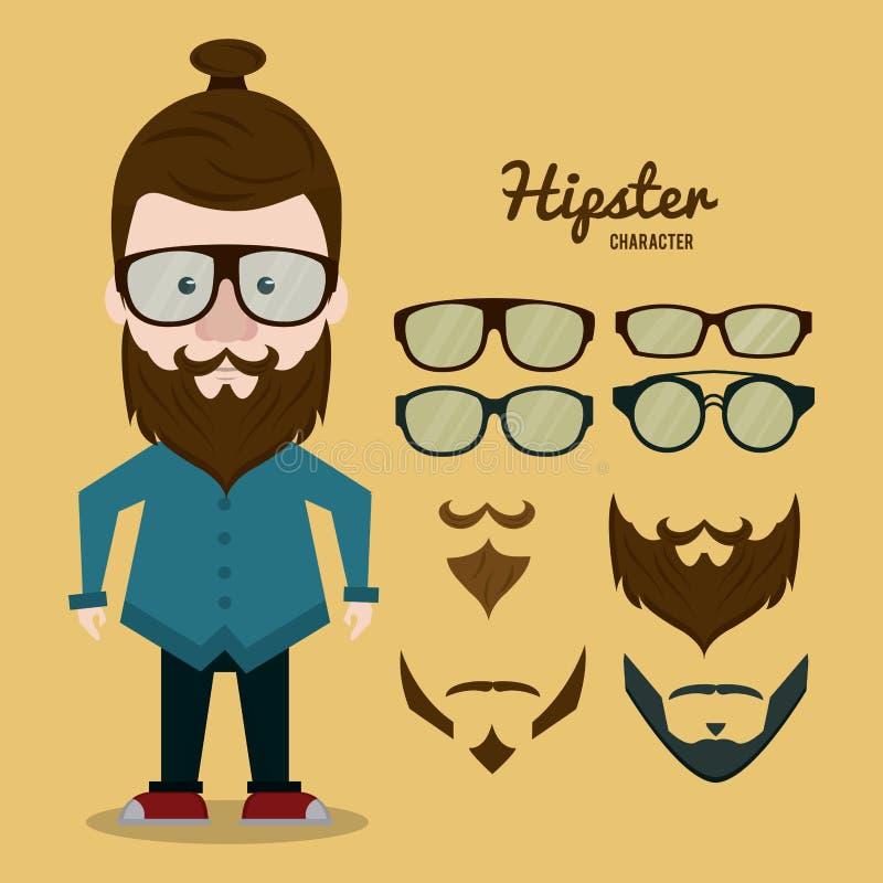 Het beeldverhaal van het Hipsterkarakter vector illustratie