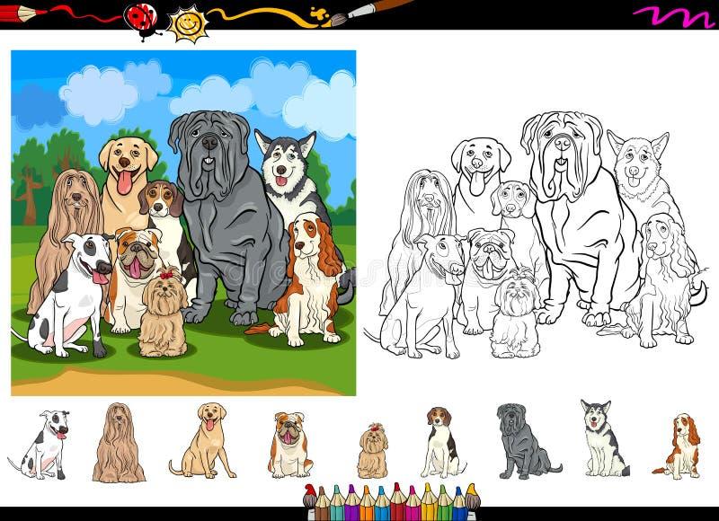 Het beeldverhaal van hondrassen het kleuren paginareeks vector illustratie
