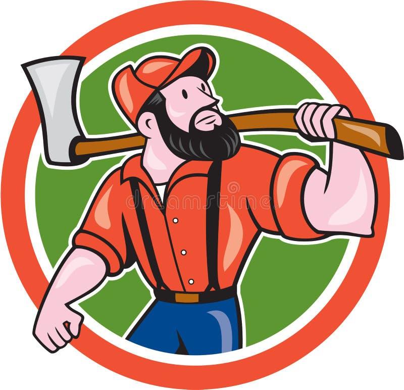 Het Beeldverhaal van houthakkersholding axe circle royalty-vrije illustratie