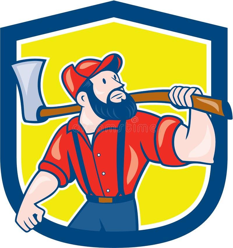 Het Beeldverhaal van houthakkersholding axe shield vector illustratie