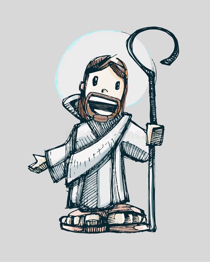 Het beeldverhaal a van Jesus vector illustratie