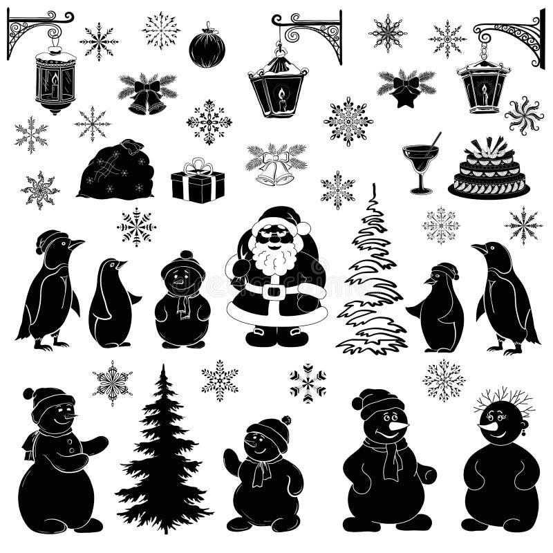 Het beeldverhaal van Kerstmis, plaatste zwarte silhouetten stock illustratie
