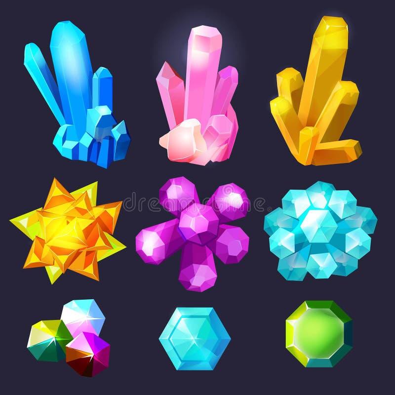 Het beeldverhaal van kristalhalfedelstenen Violetkleurige van het de gemkwarts van juwelenstenen vectorjuwelenillustraties vector illustratie