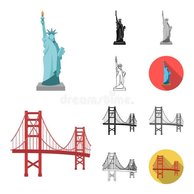 Het beeldverhaal van het land van de V.S., zwarte, vlak, zwart-wit, overzichtspictogrammen in vastgestelde inzameling voor ontwer stock illustratie