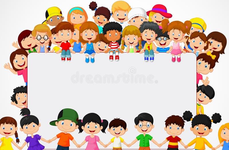 Het beeldverhaal van menigtekinderen met leeg teken stock illustratie