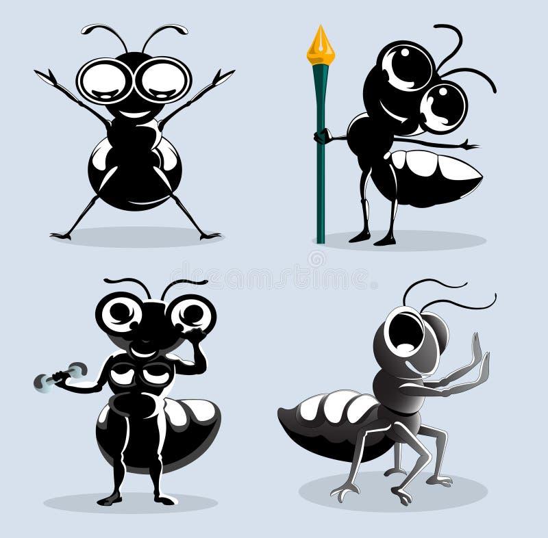 Het beeldverhaal van mieren in diverse actie vector illustratie