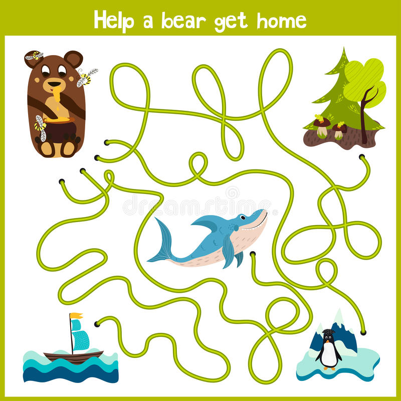 Het beeldverhaal van Onderwijs zal het logische manierhuis van kleurrijke dieren voortzetten Neem een beerhuis in het hout door w stock illustratie
