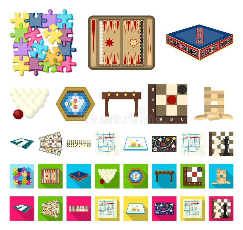 Het beeldverhaal van het raadsspel, vlakke pictogrammen in vastgestelde inzameling voor ontwerp Spel en vermaak vector het Webill royalty-vrije illustratie