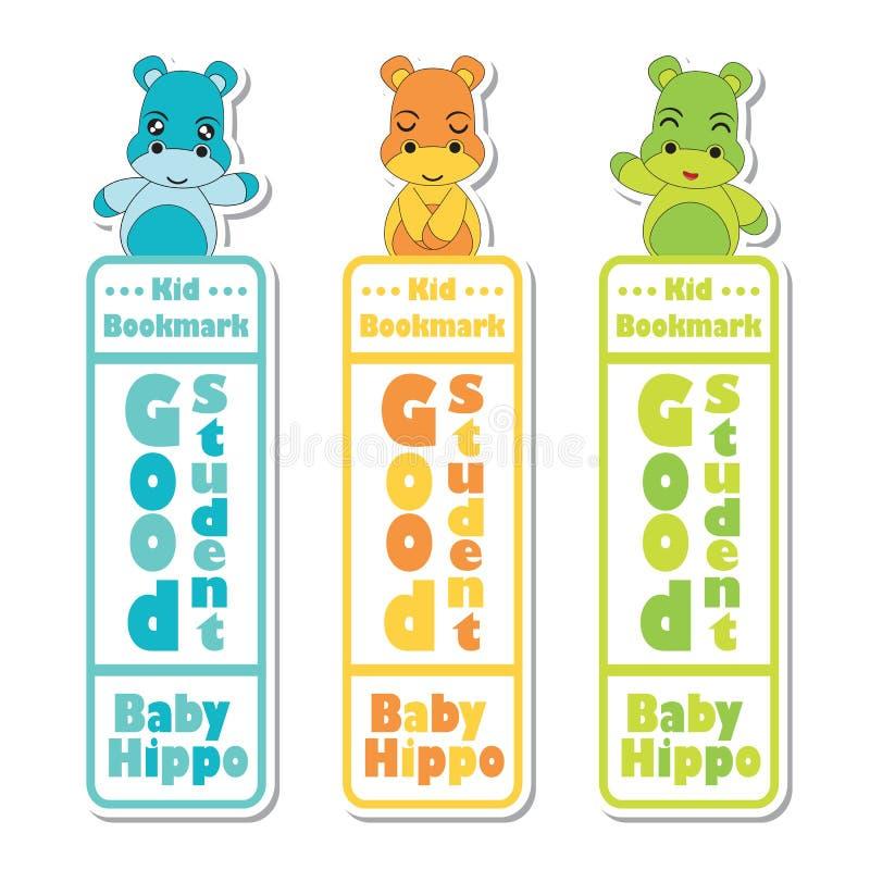 Het beeldverhaal van het referentieetiket met leuke babyhippos op kleurrijke achtergrond stock illustratie
