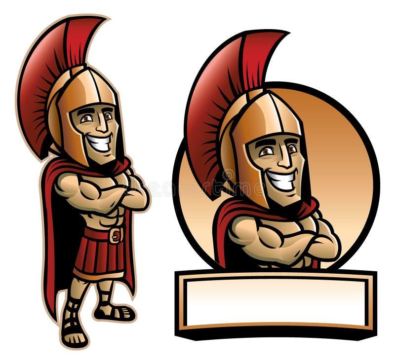 Het beeldverhaal van Spartaans leger stelt en glimlachend stock illustratie