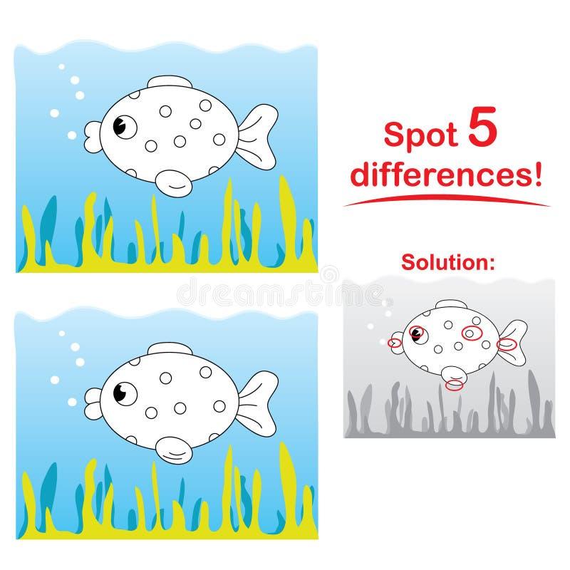 Het beeldverhaal van vissen: Vlek 5 verschillen! stock illustratie
