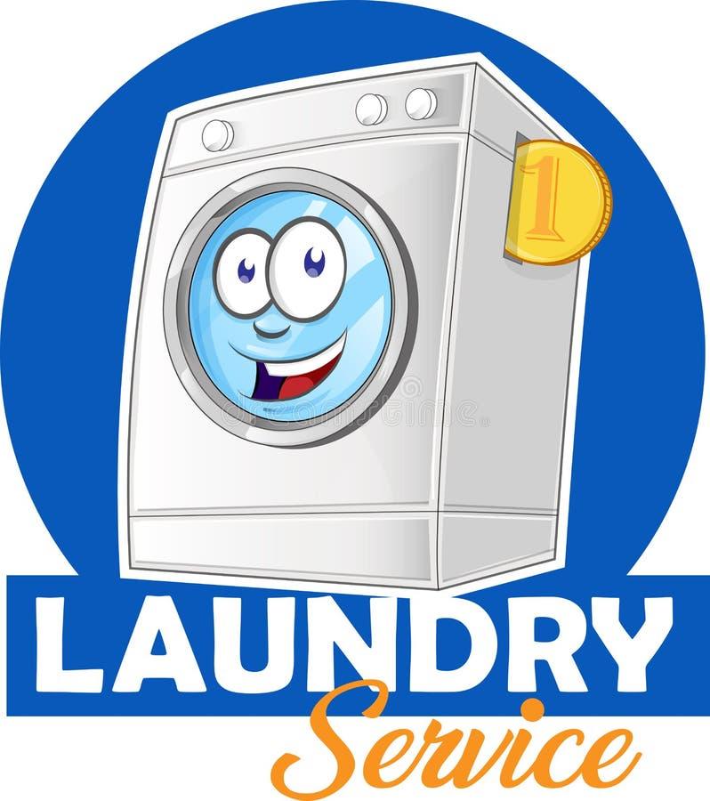 Het beeldverhaal van het wasserijembleem voor uw zaken vector illustratie