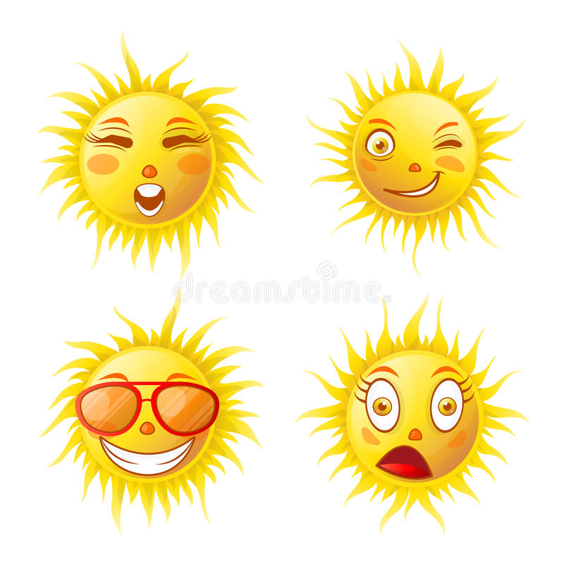 Het beeldverhaal van zonglimlachen emoticons en de gezichten geplaatste vectorpictogrammen van de zomeremoji stock illustratie