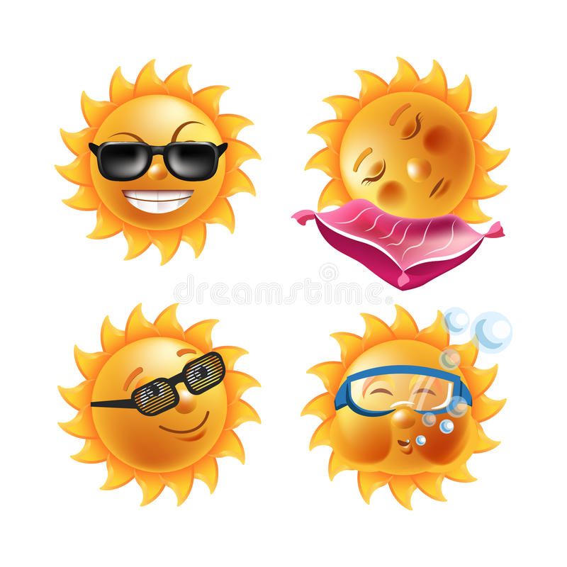 Het beeldverhaal van zonglimlachen emoticons en de gezichten geplaatste vectorpictogrammen van de zomeremoji vector illustratie