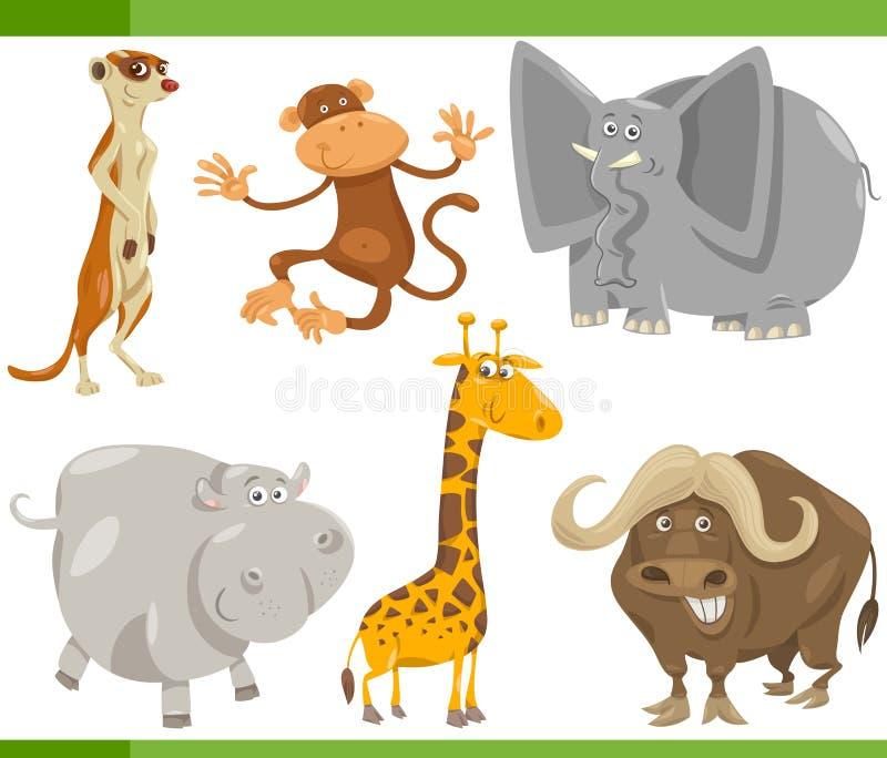 Het beeldverhaal vastgestelde illustratie van safaridieren royalty-vrije illustratie