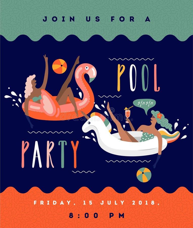 Het beeldverhaal vectorillustratie van de poolpartij met jonge vrouwen op de vlotter royalty-vrije illustratie