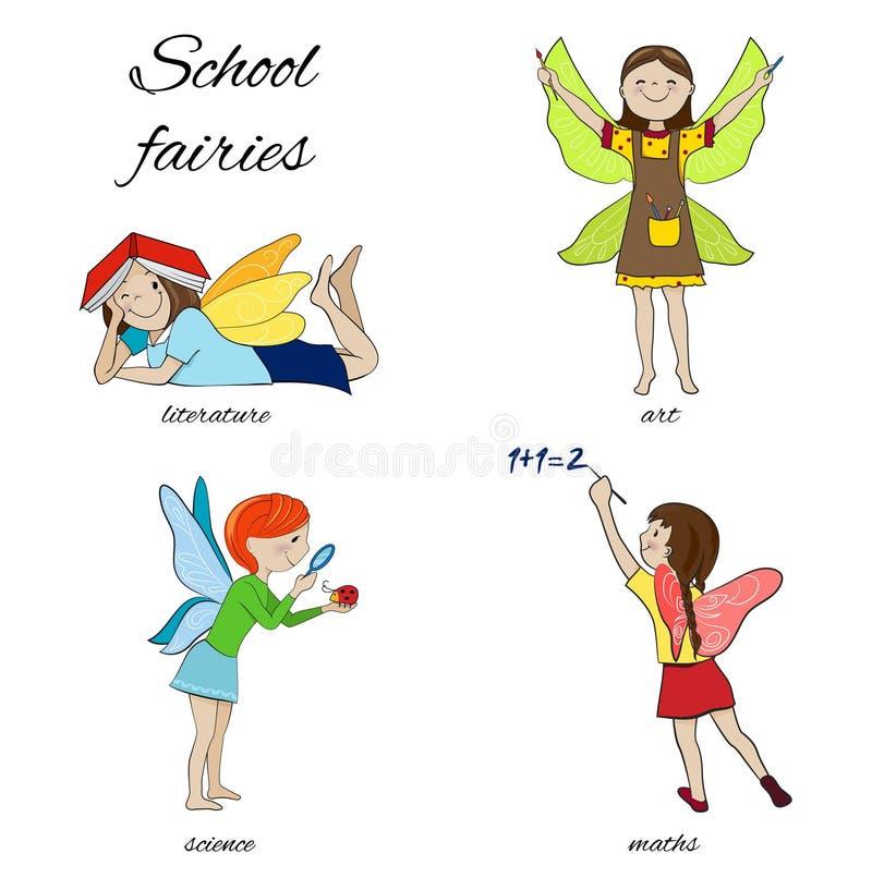 Het beeldverhaal vectorillustratie van schoolfeeën stock illustratie