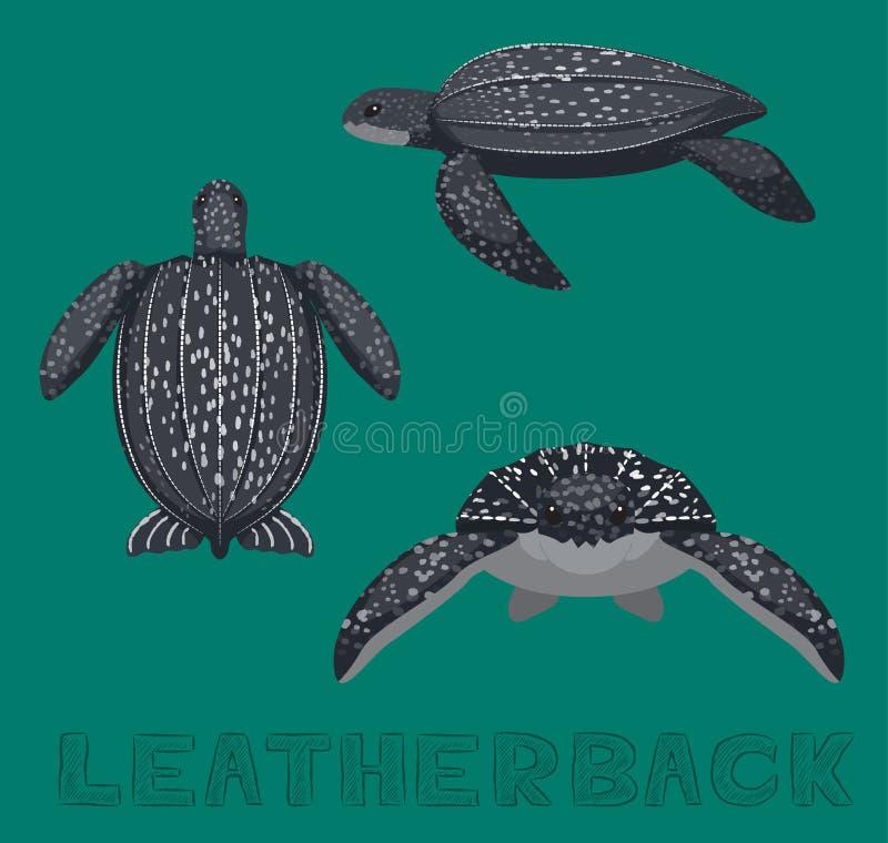 Het Beeldverhaal Vectorillustratie van zeeschildpadleatherback vector illustratie