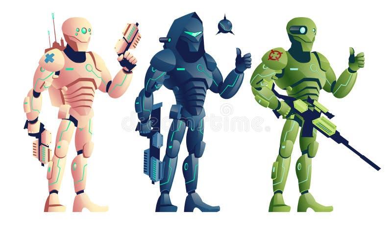 Het beeldverhaal vectorreeks van fantasie cyborg bewapende strijders vector illustratie
