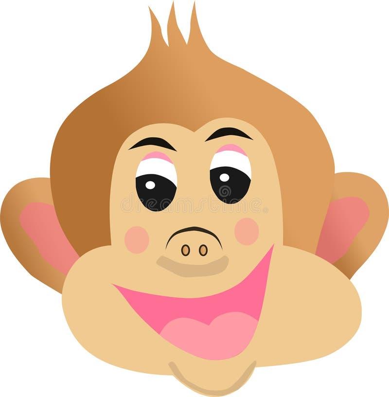 Het beeldverhaal vrolijk s van het aapgezicht stock illustratie