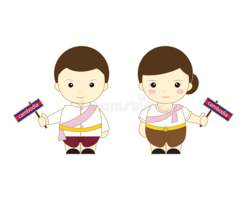 Het beeldverhaalasean van Kambodja stock illustratie