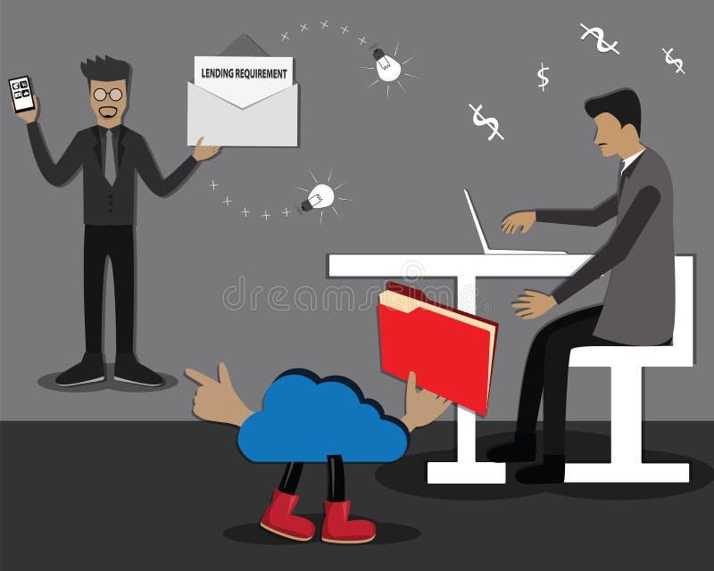 Het beeldverhaalconcept, de wolk vertelde bankier voor persoonsgegevens van zakenman die vereiste een geleend geld – Vector royalty-vrije illustratie