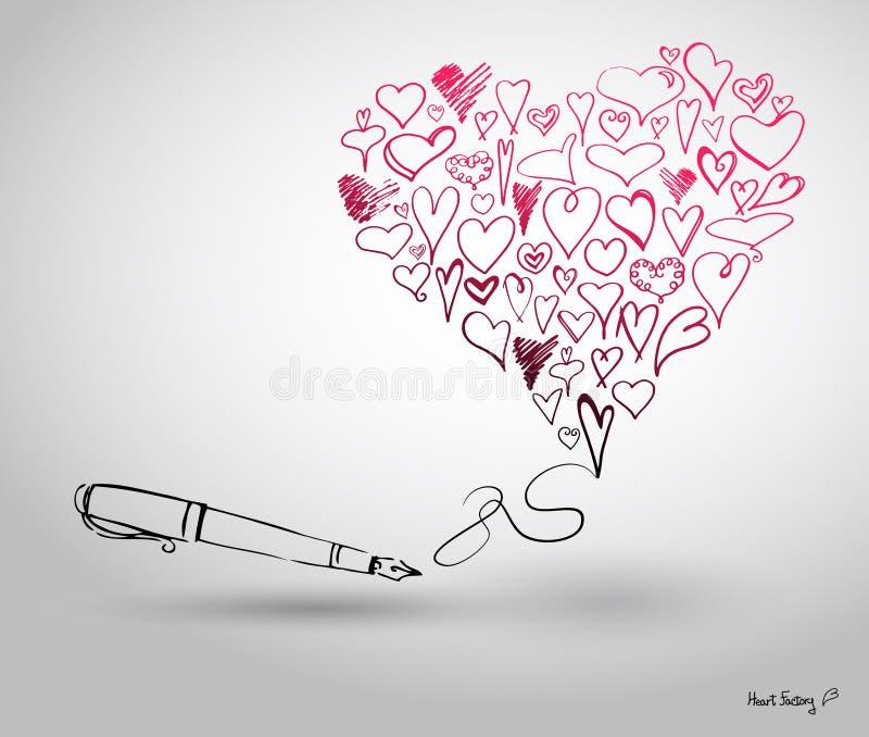 Download Het Beeldverhaalharten En Pen Van Handen Vector Illustratie - Illustratie bestaande uit art, kleuren: 29507406