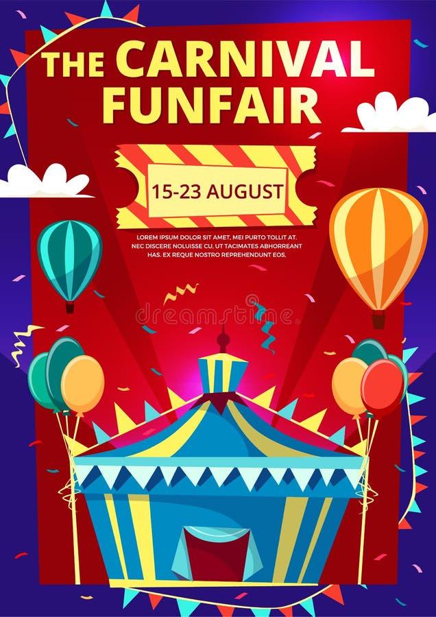 Het beeldverhaalillustratie van Carnaval funfair van de affiche van de circusuitnodiging, banner of vliegermalplaatje stock illustratie