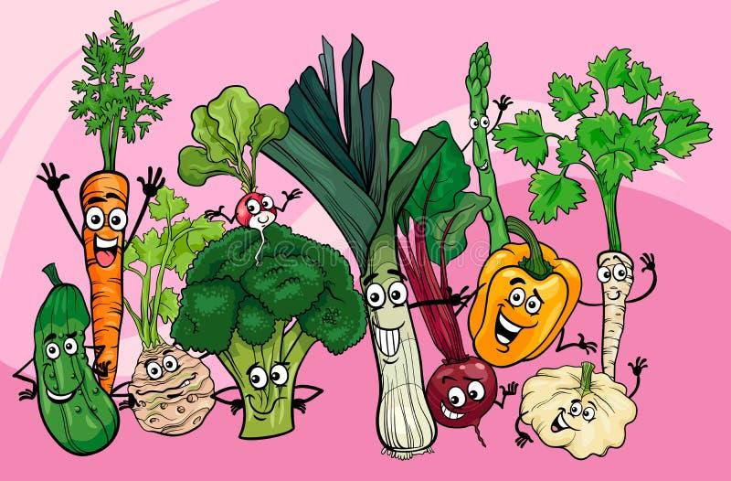 Het beeldverhaalillustratie van de groentengroep royalty-vrije illustratie