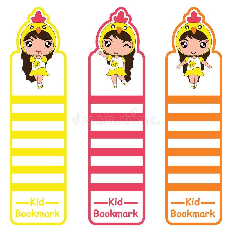Het beeldverhaalillustratie van de kinderenreferentie met leuke kuikenmeisjes op kleurrijke stijl geschikt voor het ontwerp van d royalty-vrije illustratie