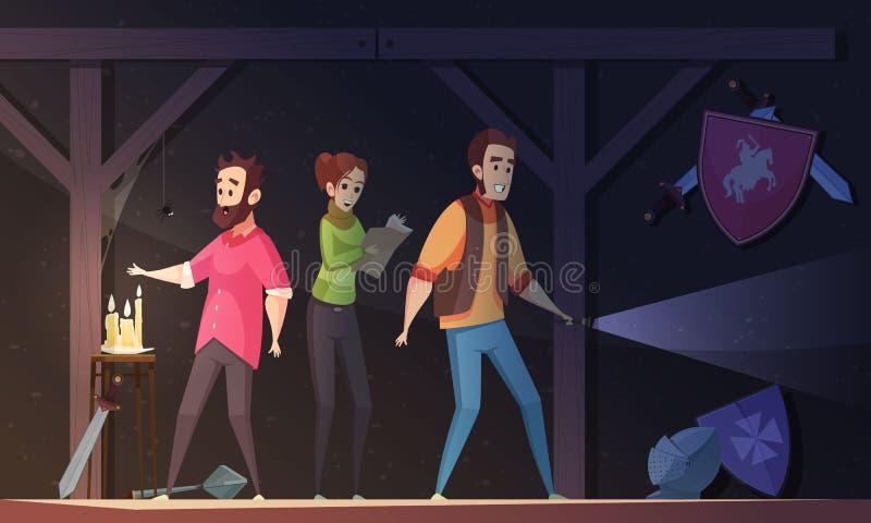 Het Beeldverhaalillustratie van de werkelijkheidszoektocht vector illustratie