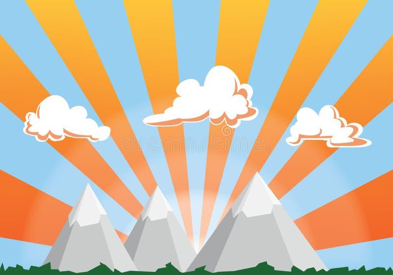 Het beeldverhaalillustratie van het berglandschap - zonsonderganghemel en wolken royalty-vrije illustratie