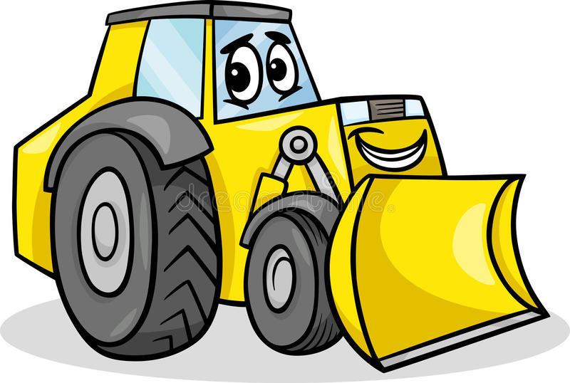 Het beeldverhaalillustratie van het bulldozerkarakter vector illustratie