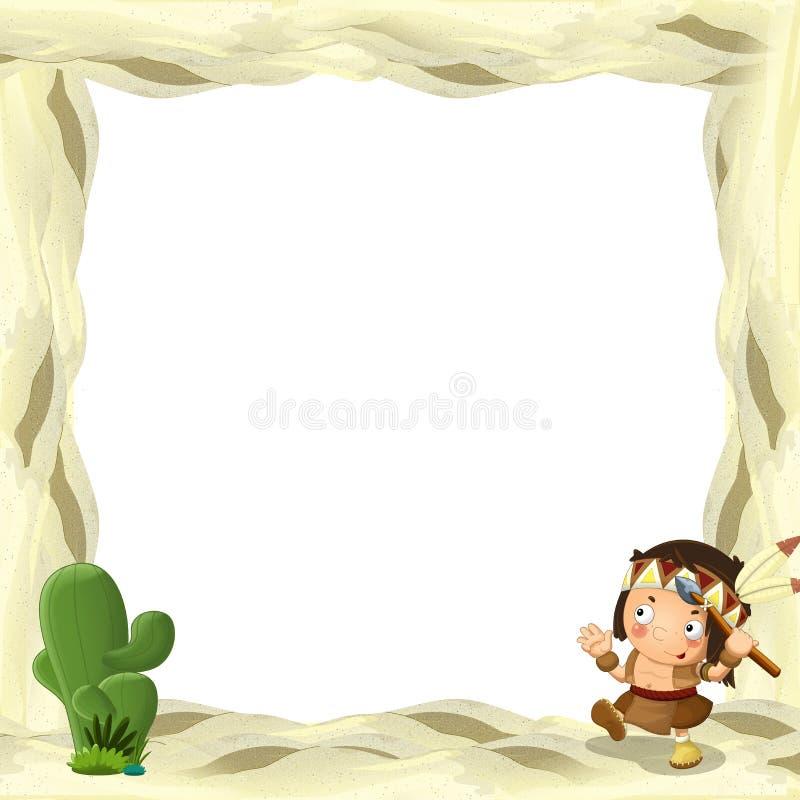 Het beeldverhaalkader voor verschillend gebruiks Indisch karakter met spear dichtbij het T-stuk plast vector illustratie