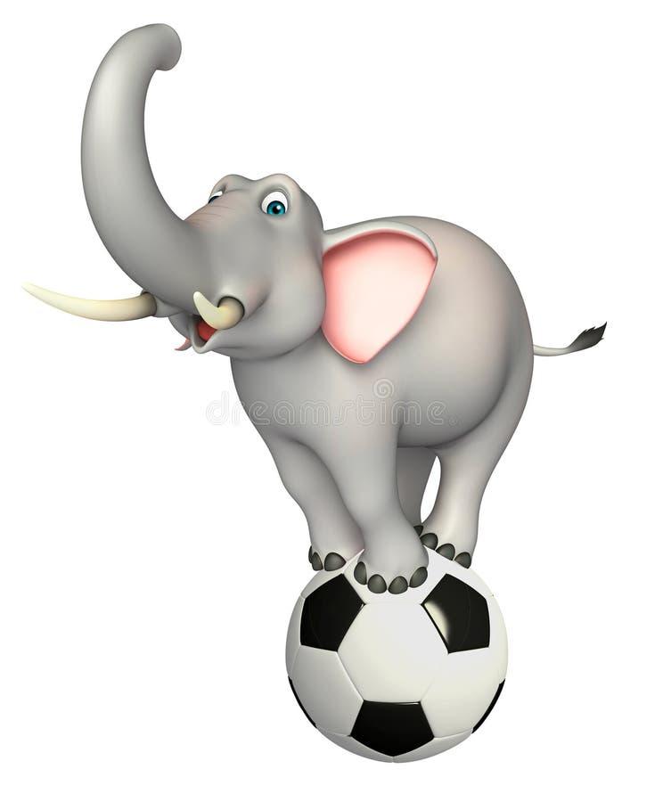 Het beeldverhaalkarakter van de pretolifant met voetbal vector illustratie