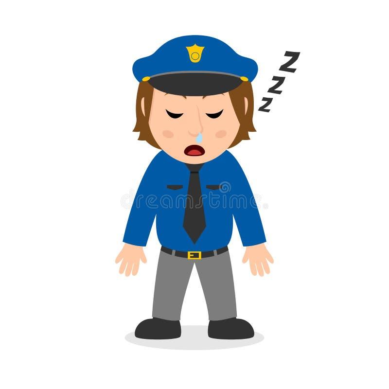 Het Beeldverhaalkarakter van het slaappolitieagente vector illustratie