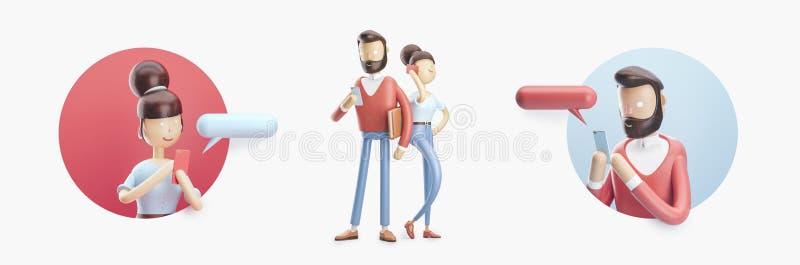 Het beeldverhaalkarakter verzendt een bericht van zijn telefoon Reeks van 3d illustratie stock illustratie
