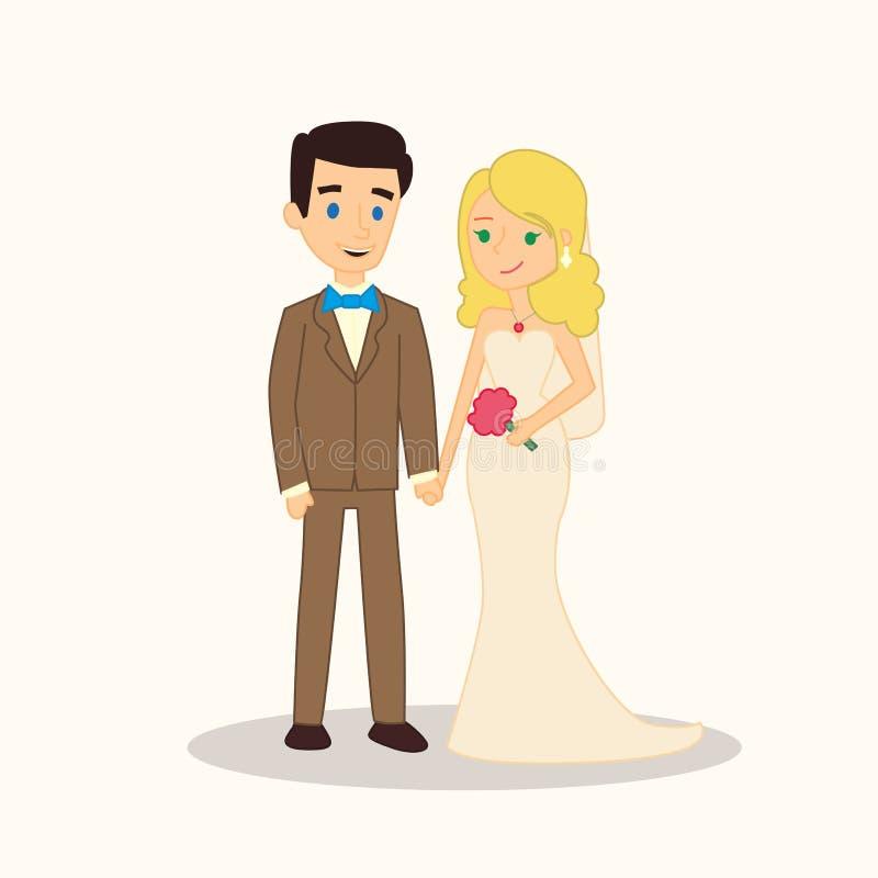 Het beeldverhaalkarakters van het huwelijkspaar Bruid en bruidegom vectorillustratie voor uitnodiging, het ontwerp van de groetka vector illustratie