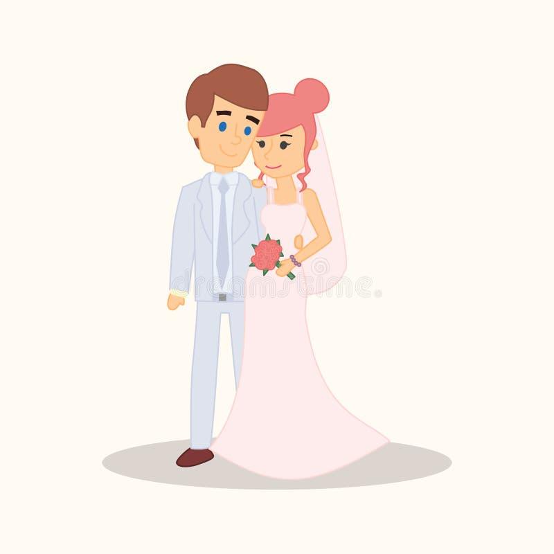 Het beeldverhaalkarakters van het huwelijkspaar Bruid en bruidegom vectorillustratie voor uitnodiging, het ontwerp van de groetka royalty-vrije illustratie