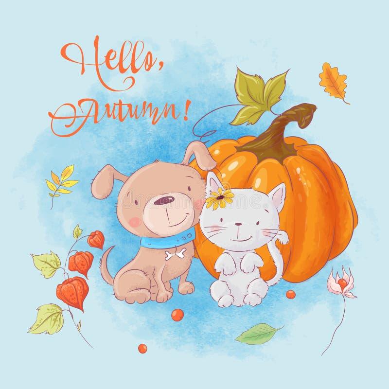 Het beeldverhaalkat, hond en pompoen van de groetkaart leuke De herfst vector illustratie