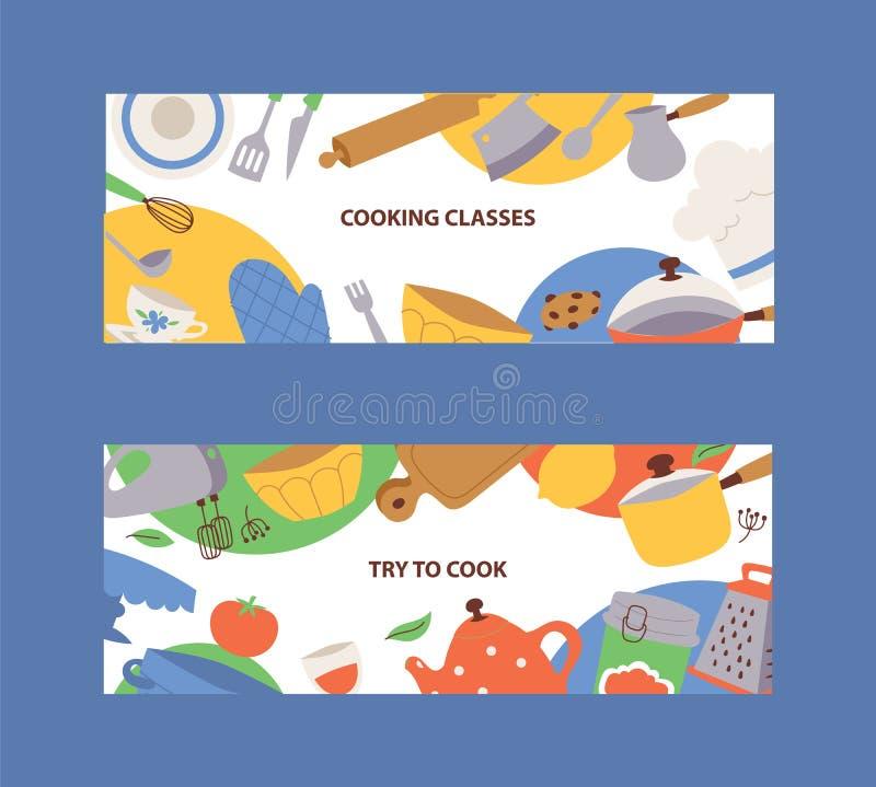 Het beeldverhaalkeukengerei van de keukengereibanner, cookware, bestek, keukengereedschap vectorillustratie Kokende klassenbanner royalty-vrije illustratie