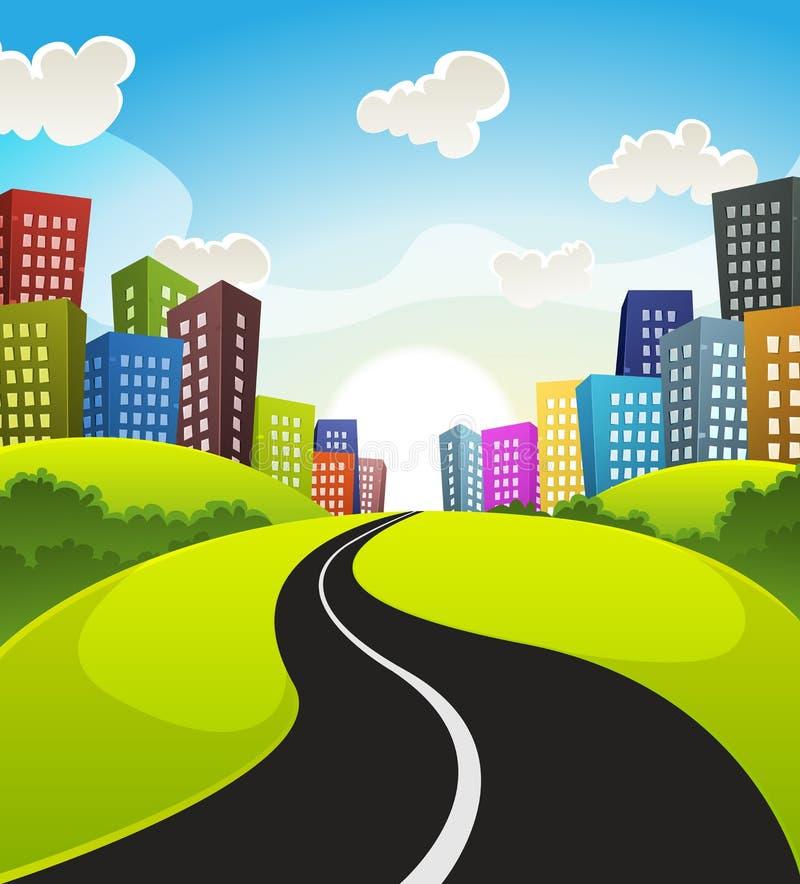 Het Beeldverhaallandschap van de binnenstad vector illustratie