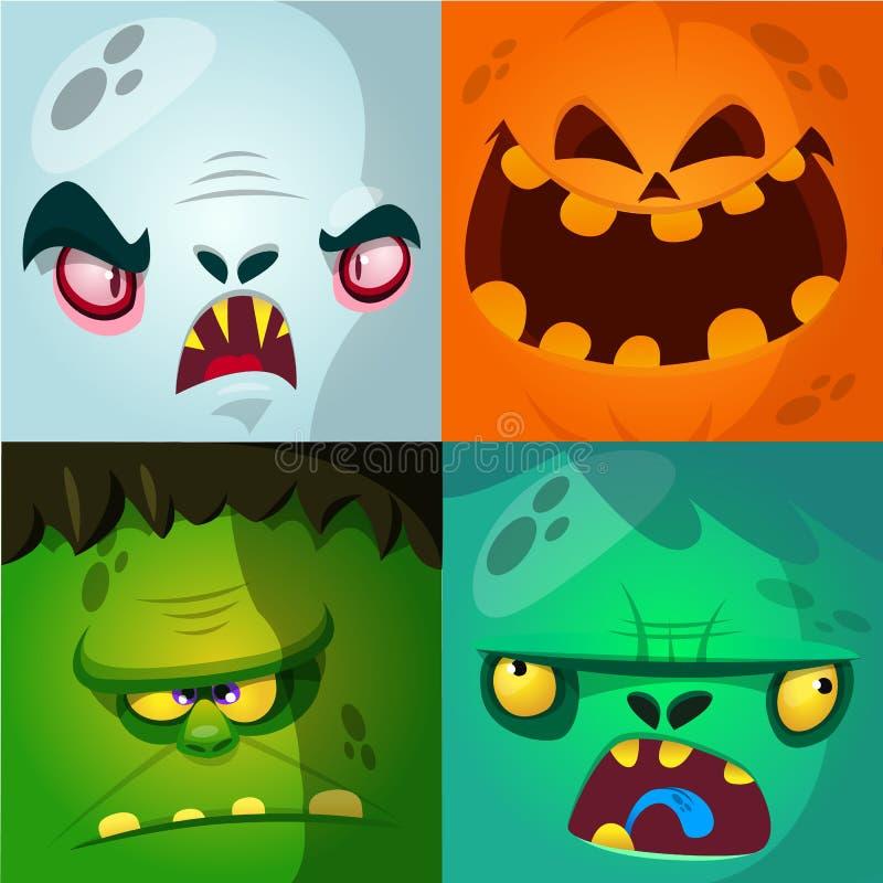 Het beeldverhaalmonster ziet vectorreeks onder ogen Leuke vierkante avatars en pictogrammen Monster, pompoengezicht, vampier, zom vector illustratie