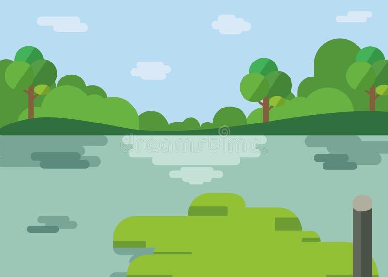 Het beeldverhaalontwerp van het aardlandschap Mooi meer met bos in vlakke stijl Rivier met heuvels, bomen, wolken en hemel royalty-vrije illustratie