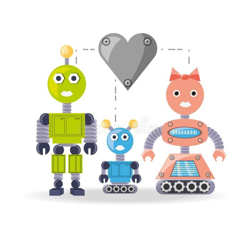 Het beeldverhaalontwerp van de familierobot vector illustratie