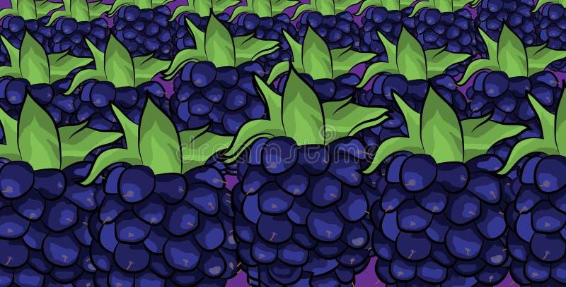 Het beeldverhaalpatroon van het braambessenfruit stock illustratie