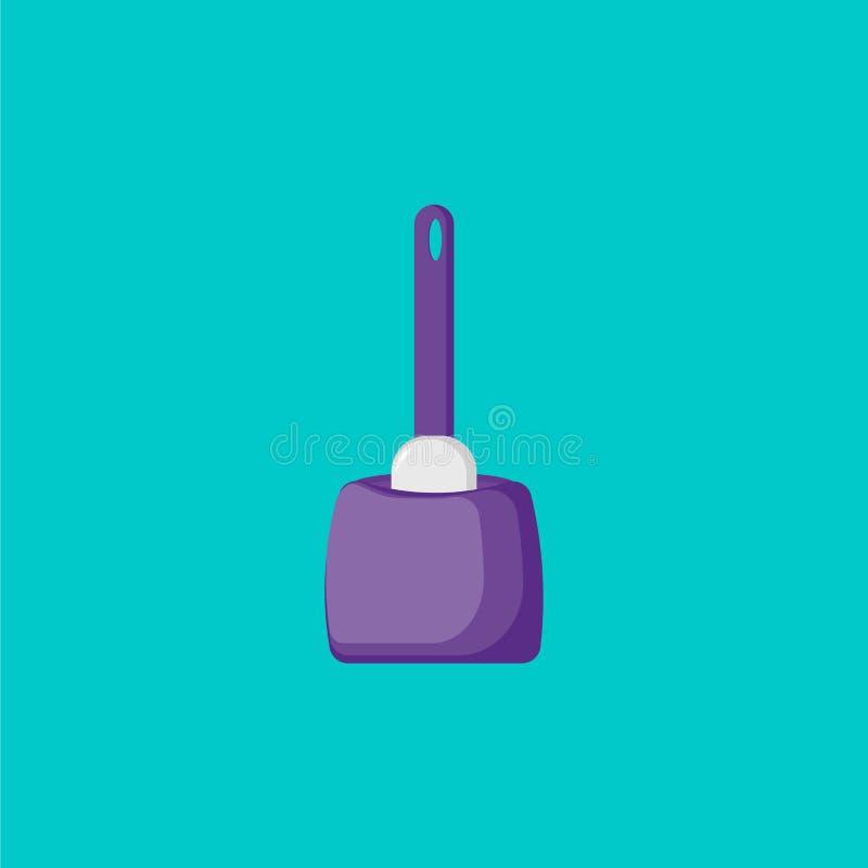 Het beeldverhaalpictogram van de toiletborstel Pictogramborstel vector illustratie