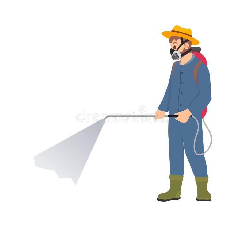 Het Beeldverhaalpictogram van landbouwersspraying chemicals isolated royalty-vrije illustratie